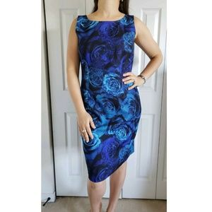 TALBOTS 12 Blue Rose Floral Sheath Dress Career